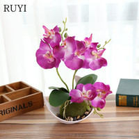 Wholesale orchids artificial flower - Artificial Butterfly Orchid Potted plants silk Decorative Flower with Plastic pots for Home Balcony Decoration vase set