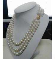 Wholesale Triple Strand Pearl Necklace 19 - Gorgeous Triple Strands 9-10mm Tahitian South Sea White Pearl Necklace 18 Inch 19 Inch 20 Inch 14k Gold Clasp