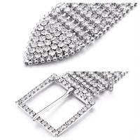 Wholesale elastic chain belt - Unisex Luxury Metal Chain Elastic Belts Women Diamante Crystal Chain Belt 8 Rows Rhinestone Wide Bling Female Waist Belt