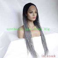ingrosso trecce lunghe box-Grigio Ombre Box Trecce Mic intrecciato lunghe parrucche sintetiche anteriori in pizzo per le donne nere in magazzino
