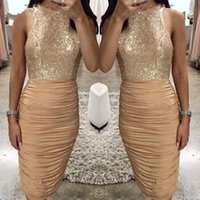Wholesale evening halter top white gowns - Champagne Gold Sheath Cocktail Dresses 2018 Bling Sequins Top Pleats Knee Length Short Prom Evening Gowns Club Wears