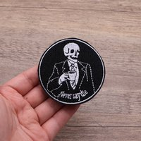 ingrosso goth patch-Toppa ricamata di Goth Punk Goth di teschio di morte per vestiti Iron On Applique Inspirational Accessories