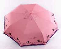 кошачьи зонтики оптовых-Металлические Цветы и Кошка Зонт Дождь Женщин Ветрозащитный Дождь Солнца Автоматические Складные Зонты Леди Зонтик Зонтик