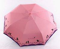 kedi şemsiyeleri toptan satış-Metal Çiçekler ve Kedi Şemsiye Yağmur Kadınlar Rüzgar Geçirmez Güneş Yağmur Otomatik Katlanır Şemsiye Bayan Şemsiye Şemsiye