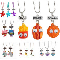 Wholesale Ice Resin - Best friends pendant cute child jewelry Emulation resin burger hot dog food necklace Cherry ice cream jewelry set BFF Owl shape starfish
