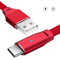 led cable оптовых-Смарт-дыхание светодиодный телефонный кабель высокого качества 1m/3ft 2.4 A для iPhone Android Type-C быстрая зарядка