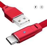 led cable оптовых-Smart Breath LED Телефонный кабель высокого качества 1m / 3ft 2.4A для iPhone Android Type-C Быстрая зарядка