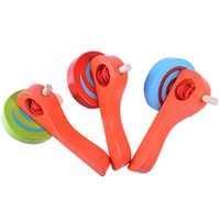 Wholesale Wholesale Wooden Spinning Top - Spinning Top Colorful Pull Wire Gyroscope Leisure Time Wooden Handle Gyroscopes Originality For Kids Souptoys New Arrival 6pd W