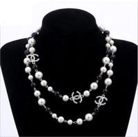 jóias pérolas brancas venda por atacado-Pérola pérolas naturais contas brancas colar para as mulheres Camisola Longa Cadeia Colar de Jóias bijoux
