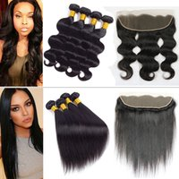 Wholesale way closure bundles for sale - Group buy 9a Virgin Body Wave Straight Hair Bundles with Closure Frontal Brazilian Peruvian Malaysian Wet and Way Hair Lace Frontal with Bundles