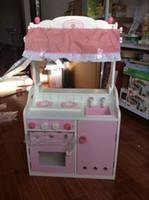 ingrosso giocattolo da cucina gratuito-Giocattoli del bambino di trasporto giocattoli da cucina in legno Set cucina rosa del bambino della ragazza con accessori regalo
