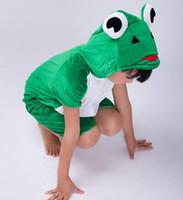 erkek kurbağaları toptan satış-2018 Yeni stil çocuk Cosplay Kurbağa fare arı Hayvan giyim gerçekleştirmek Erkek ve kız Dans Yapışık giysi