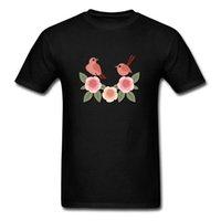 kuş stili gömlek toptan satış-Bahar Güzel Çiçekler Kuşlar Baskı Erkekler Rahat Tarzı T-shirt Kısa Kollu Siyah Pamuk Tee Gömlek Özel Şükran Günü