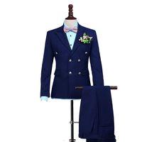 ingrosso smoking grigio lucido-Tute Blu Navy Men per abiti da sposa Doppio Petto su ordine Groomsmen visiera risvolto Best Man Blazers 2 pezzi giacca pantaloni partito