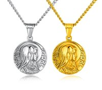 Wholesale cameo jewelry wholesale - Virgin Mary Stainless Steel Pendant Necklace - Gold Silver Tone Cameo Design Women Men Christian Jewelry Cross Medal Pendant Necklace