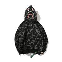 schwarze tarnungs-kapuzenpulli großhandel-Der Haifisch-Schwarz-Camouflage-Kapuzenpullis-Jugend-Camo-Wolljacken-Hip HopHoodie der Großhandelsliebe arbeiten Sport Streetwear Größen M-XXL