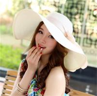 große elegante strohhüte großhandel-Sommer-Hut-Frauen faltbarer breiter großer Rand-Strand-Sonnenhut-Strohstrand-Kappe für Damen-elegante Hüte Mädchen-Ferien-Ausflug-Hut