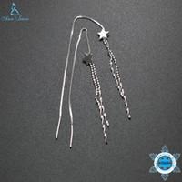 joyas de estilo ol al por mayor-Ann Snow 925 Sterling Silver Earrings OL Style Long Chain Chain Drop Dangle Pendientes Brand Jewelry Star Shape For Women