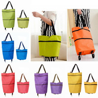 Wholesale Plain Trolley - Foldable Shopping Trolley Bag Cart Rolling Wheel Grocery Tote Handbag Travel Folding Grocery Shopping Bag 6 Color EEA115