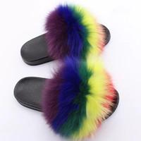 frauen öffnen flache schuhe großhandel-Süße Süßigkeiten Farbe Sommer Frauen echte natürliche Feder Pelz Fuzzy Pantoffeln Rutschen Maultiere Frauen offene Zehen flache Schuhe