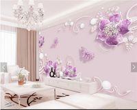 flores borboleta parede murais venda por atacado-3d papel de parede flor roxa borboleta wall mural papel de parede foto hd home decor wallcoverings para tv quarto papel de parede rolos