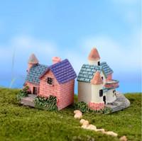 ingrosso case in miniatura da fiaba-Casa Cottage Mini Artigianato in miniatura Fata Giardino Decorazione Case Case Micro Decorazione paesaggistica Accessori fai da te 15pcs / lot