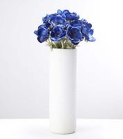 künstliche miniblumen blau großhandel-5 Köpfe Mini Blue Künstliche Anemone Hochzeit Brautstrauß Home Lange Stem Blume Gras Tisch Blumen