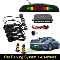 sensores de respaldo automático al por mayor-Sensor de aparcamiento LED para automóviles con 4 sensores Auto Parktronic de reserva inversa Monitor de radar del aparcamiento Detector del monitor del sistema (Luz)