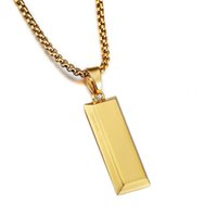 homens quadrados colar de pingente de ouro venda por atacado-Hip hop estilo 18 K banhado a ouro cadeia de ouro para homens high street desgaste pingentes quadrados homens homens de rua criativa dança colares frete grátis