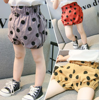 chicas coreanas estilos pantalones cortos al por mayor-INS Baby Girls Dot Shorts Summer Polka Dots Niños Shorts Korean Fashion Boys Pantalones a cuadros Cute PP Shorts Niños bottoms 5 style 3230
