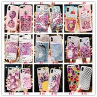 iphone case sıvı su toptan satış-Glitter sıvı quicksand telefon kılıfları için iphone 6 6 s artı case bling unicorn su pul paris için iphone 7 8 plus x case