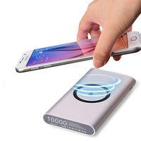 banco de energia do carregador qi venda por atacado-Banco do poder 2 em 1 portátil universal do carregador sem fio de Qi 10000 mah para o andróide de Huawei do iPhone