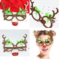 Wholesale funny christmas flash - Funny Glasses Antlers Christmas Birthday Brown Party Gift Supplies Plastic Spectacles Red Flash Powder Nose Cute Cartoon Creative 8sf V