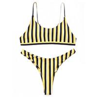 biquíni de tanga amarela venda por atacado-Listrado amarelo Sexy Biquínis Mulheres Maiô Conjunto Biquíni Tanga Natação Ternos Maiô Swimwear Com Acolchoado