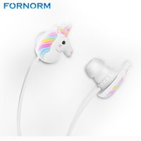 ingrosso regali arcobaleno per i bambini-FORNORM 3.5mm Auricolari per bambini Regali Simpatici Unicorni Auricolari colorati Rainbow Horse Cartoon Auricolari per smartphone tablet MP3