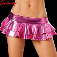 Wholesale Sexy Latex Skirt - Min Sexy Latex Skirt Women Pole Dancing Club Wear Short Skirts 7 Colors Leather Micro Mini Skirts Dancing Skirt Erotic Fetish
