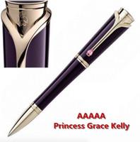 rodillo de metal al por mayor-Princesa de Mónaco Grace kelly de alta calidad, de color morado oscuro, bolígrafo, bolígrafos con incrustación de diamante en el clip y número de serie de MB
