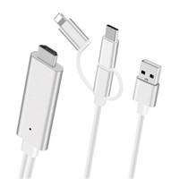 android hdmi adapter оптовых-Подключи и играй 3 в 1 HDMI USB-кабель для iPhone Android Micro USB Type C to HDMI HDTV цифровой AV-адаптер