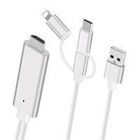 mikro usb hdmi adaptörü toptan satış-Tak ve Çalıştır 3 1 HDMI USB Kablosu iphone Android Mikro USB Tip C için HDMI HDTV Dijital AV Adaptörü