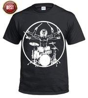 kit de bateria de música venda por atacado-Vitruvian Drummer / Engraçado / Drumming / T Shirt / Bateria / Drum / Kit Vara / Música / Rock / Top / Tee O-pescoço Moda Impresso mens Algodão T-shirt