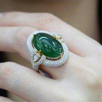 ingrosso pietre scure-ZHIXUN Luxury Dark Green Stone argento color oro anelli di cristallo Bague per le donne Anniversario di vacanza di gioielli Vintage Anillos