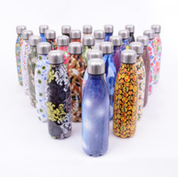 Wholesale plastic drink mugs - Stainless Steel Cola Bottle 500ML 26 Styles Camo Floral Printed Outdoor Sports Bottle Vacuum Insulated Travel Mugs OOA5232