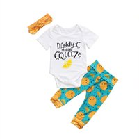 Wholesale baby boy s outfits resale online - Newborn Kids Baby Girls Cotton Daddy s main squeeze Romper Orange Long Pants Leggings Outfits Set Clothes
