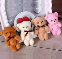 diy dolması yapılmış hayvanlar toptan satış-4 renk 11 cm Çocuklar Peluş Kolye Diy Papyon Ayı Kolye Severler Doldurulmuş Hayvanlar Şekil Doğum Günü Hediyesi Peluş Bebekler hediye Oyuncaklar