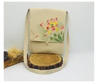 pintando tecido de menina venda por atacado-Estilo chinês pintados à mão placa fivela diagonal cruz-saco Buddha menina literária saco Hanfu tecido borla lona pequena praça saco