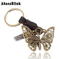 schmetterlingsseil großhandel-3 Farben Hochwertigem Echtem Leder Seil Schlüsselbund Für Männer Frauen Vintage Bronze Schmetterling Elefant Anhänger Schlüsselanhänger Schlüsselanhänger