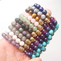 Wholesale bracelet aventurine resale online - X8MM Volcano Lapis Amethysts Quartz Labradorite Aventurine Round Beads Golden Buddha Stretchy Bracelet Bangle L