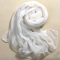 Wholesale white silk chiffon scarves resale online - Woman Chiffon scarf Summer Beach Style girl Shawl Wrap Silk Pure White Soft Thin Oblong Scarf Shawl female neckerchief cachecol