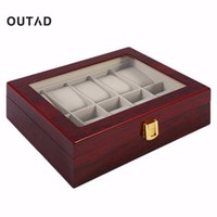 Wholesale wood jewelry organizer case - Practical 10 Grids Retro Red Wooden Watch Box Display Case Durable Jewelry Collection Storage Watch Organizer Box