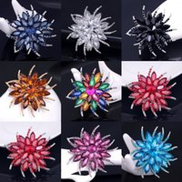 multicolor rhinestone flower brooch Canada - Elegant Women Flower Brooches Corsage Multicolor Crystal Rhinestone Brooch Pin Scarf Buckle For Wedding Party Jewelry Costume Accessories